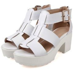 LUCLUC White Buckle Strap Heavy Bottomed Sandals (300 PLN) ❤ liked on Polyvore featuring shoes, sandals, heels, lucluc, heeled sandals, heavy shoes, high heel sandals and high heel shoes
