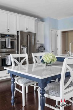 Countertop Materials, Wood Countertops, Kitchen Colors, Kitchen Design, Colorful Kitchens, Kitchen Magic, Cabinet Refacing, Blue Cabinets, Kitchen Gallery