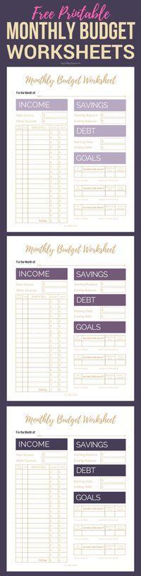 Free Printable Budget Worksheet, Sheets, Planner | Simple College Budgeting | Finance, Saving Money