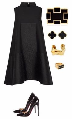 black and gold featuring Alexander McQueen, Sondra Roberts, Devon Leigh, Van Cleef & Arpels, Christian Louboutin and Aurélie Bidermann Fashion Mode, Look Fashion, Womens Fashion, Fashion Trends, Feminine Fashion, Fashion News, High Fashion, Classy Outfits, Chic Outfits