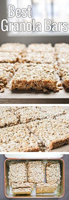 Des barres de céréales faciles à faire, et encore plus faciles à emporter pour un goûter sain, pour les adultes comme pour les enfants!                                                                                                                                                     Plus