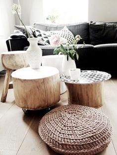 Tisch schwarz sofa polsterung Baumstamm hocker