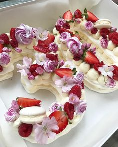 Meringue Girls Pavlova Number & Letter Cakes - Layers of pavlova, sandwiched with mascarpone cream, berries, flowers, macarons and mini meringues.
