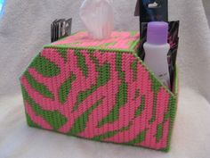 Pink and Lime Green Zebra Boutique  tissue holder with side pockets.