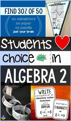 Students love choice in Algebra 2. Algebra 2 topics where choice can be offered to boost student engagement