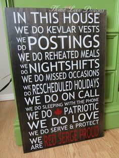 RCMP In This House Wood Sign by HomeLoveDesigns on Etsy