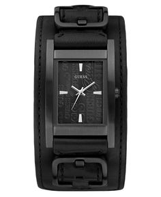 GUESS Watch, Black Leather Cuff Strap 32x40mm U95139G1 - Women's Watches - Jewelry & Watches - Macy's