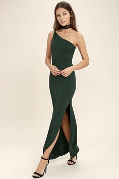 aca616b920 FACE TO FACE DARK GREEN ONE SHOULDER MAXI DRESS