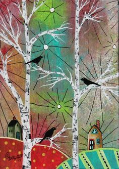 Singing Birds 5x7inch ORIGINAL Canvas Panel PAINTING FOLK ART birds trees KarlaG #FolkArtAbstractPrimitive