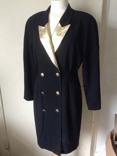 by MonaBellsVintage on Etsy Vintage Clothing, Vintage Outfits, 1980s, Black Gold, German, Blazer, Trending Outfits, Sweaters, Jackets