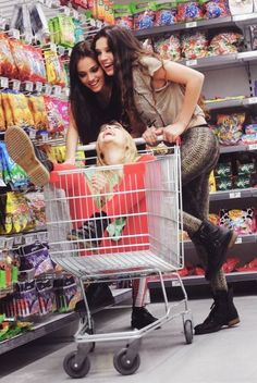 This is like me, Nisa and Olivia! Olivia would so be the one in the cart;)
