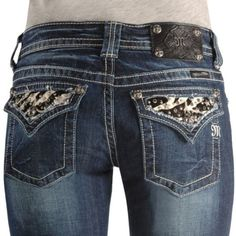 Miss Me Jeans     Miss Me Jeans - Dark Wash Embellished Zebra Pocket Boot Cut