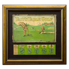 Tait's Table Antique Golf Game framed