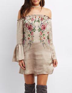 Floral Off-The-Shoulder Shift Dress | Charlotte Russe
