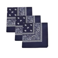 Set of 3 Mechaly Paisley 100% Cotton Blue Vegan Bandanas