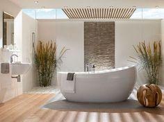 Sala de baño con decoración vegetal