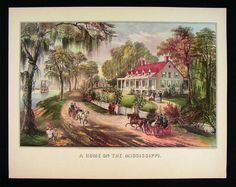 Currier and Ives Originals | Details about Currier and Ives Print - A Home on the Mississippi ...