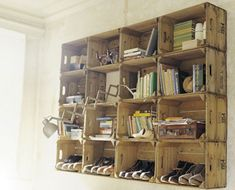 apple crate shelves - would make a cool banquet for the dining room (only 2 or maybe 3 crates high)