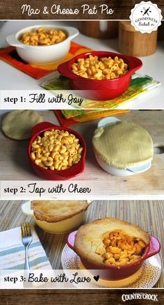 These Mac & Cheese Pot Pies are too good not to share. Bake one for your family, and have your kids help bake another for a neighbor. The holidays are the perfect time of year to share and reach out to those in your community.