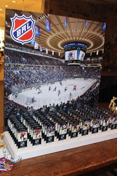 Hockey Themed Bar Mitzvah Seating Card Display with Rangers Stadium