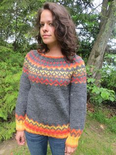Handknit gray wool sweater