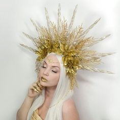 Sun Goddess Crown  one of a kind by Frecklesfairychest on Etsy