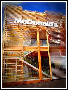 Exterior of McDonald's Olympic Flagship Restaurant - London #mcdonalds #mcdonald's #olympics #London2012 #McDOlympics (by McDonaldsCorp, via Flickr)