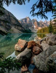 Moraine Lake, Rocky Mountains, Banff National Park, Alberta, Canada #LandscapeMountain