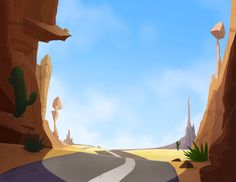 Animation backgrounds for a Cartoon Network show (Behance Network)