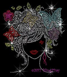Lady - with Butterfly Hair - Iron on Rhinestone Transfer Bling Hot Fix Flower Stylist Girl Women - DIY