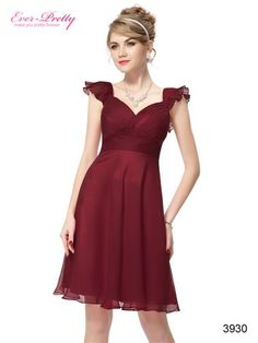 Flutter Sleeve Ruched Bust Bow Short Red Formal Party Dress - Ever-Pretty US