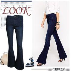 Single button bootleg jeans