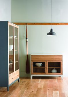 Designed by ercol, exclusively for John Lewis, Pilgrim is a range of display cabinets, made from white oak with lacquered frames in a choice of two colours - either grey or putty.  The painted carcass contrasts with the natural oak finish of the fronts and interiors, whilst the simple, clean look takes inspiration from the New World styles.    The range comprises a sideboard, armoire and tall six-drawer cabinet.  Unusually, all the pieces feature a display space, with glass doors on all…