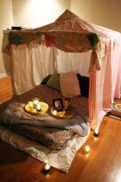 Indoor tents and blanket forts | Pinterest Most Wanted...could make for a super romantic movie night...wink wink nudge nudge