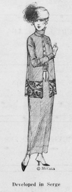"""Upcycled (or """"remodeled"""", as the accompanying article describes it) serge dress. From the November 15, 1918 Leavenworth Echo."""