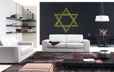 Wall Vinyl Sticker Decals Mural Room Design Pattern Art Bedroom David Star Jewish Quote Art Culture Israel  bo2486 by RoomDecalsAndDesigns on Etsy