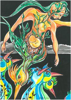 Gravidez, aquarela - Autora: Cybele Ramalho 2012