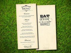 Vintage Rustic Elegant Steampunk Wedding Menu Card - Double Sided DIY Printable. $15.00, via Etsy.