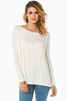 ShopSosie Style : Cozy Long Sleeve Top in Cream by Piko