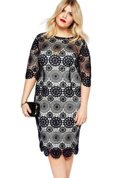 Robes Taille Noir Lace Crochet Manches Robe Crayon