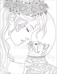 Adult Coloring Page Cat Fantasy The Kitty Kiss Printable Digital Download Book By Kristi