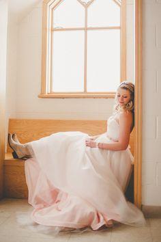 Soft pink wedding gown From Bliss Bridal. http://www.weddingchicks.com/2014/04/22/custom-made-wedding-dress-from-bridal-bliss-designs-6/