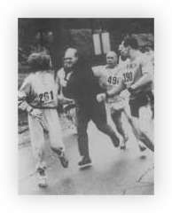 """""""Every time a female runner enters a marathon, a small offering should be made to Kathrine Switzer. Through her tenacity, stubbornness and belief that women can too run 26.2, she scaled the male bastion of the Boston Marathon that barred women from its race and helped to open its doors to women, which it officially did in 1972."""""""