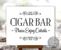 Cigar Bar Sign Printable Wedding Sign DIY Instant Download (#CIG1B)