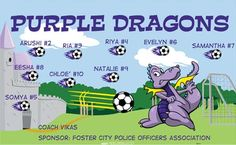 Dragons-Purple-40572 digitally printed vinyl soccer sports team banner. Made in the USA and shipped fast by BannersUSA. www.bannersusa.com