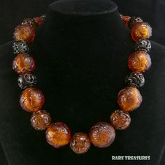 "Amber Peking Glass and Carved Serpentine Bead Necklace 21"" from raretreasures on Ruby Lane"