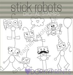 Robot Black Line Clip Art from Dorky Doodles on TeachersNotebook.com -  (6 pages)  - Six cute robot black line images perfect for all your worksheets and notes home to parents!