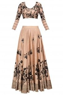 Peach and black sequins floral work bridal wear lehenga set