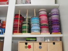 Store ribbon on dowels, by color.