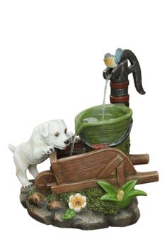 Solar Dog on Wheelbarrow Water FeatureThis adorable water feature is a charming addition to any home. Adding a playful sense of joy to your garden, patio or balcony.SpecificationsDimensions: 47 x 28 x 45cmAll our solar creations are supplied with a battery backup which allows you